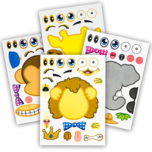 24 Make-A-Zoo Animal Sticker Sheets - Great Zoo And Safari Theme Birthday Party Favors - Fun Craft Project For Children 3+ - Let Your Kids Get Creative & Design Their Favorite Animal Sticker! -