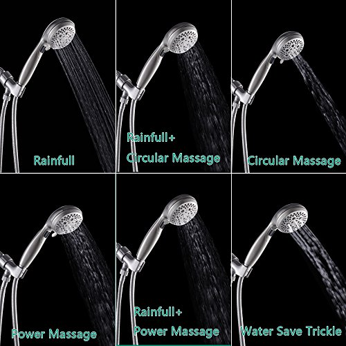 LORDEAR Luxury Large High Pressure 6 Setting Water Flexible Removable Rain Message Detachable Handheld Shower Head Set with Holder, 3.5'' Shower Head with 60'' Stainless Steel Hose, Brushed Nickel by Lordear (Image #1)