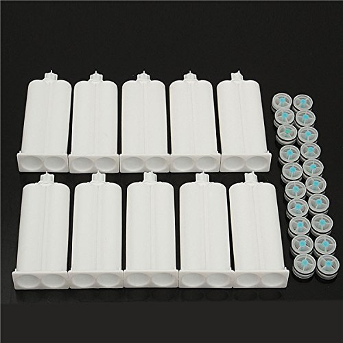 New 10Pcs 50ml Epoxy Resin Gun Adhesive Cartridge 1:1 Ratio Dispenser with 20pcs - Dispenser Cartridge