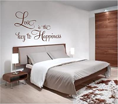 """Love Is The Key To Happiness - Large wall decal sticker home décor 36"""" x 23"""""""