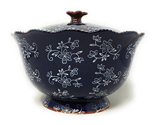 - Temp-tations 3 qt Serving Bowl with Lid, Stoneware, Scallop & Flange Edge …(Floral Lace Blue)