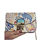 Xuanhemen Floral Printed Women Girl Lock Decor Chain Strap PU Single-shoulder Bags Ethnic Style Crossbody Messenger Bags Handbag Fashion Bags