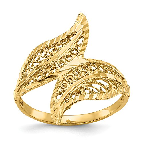 JewelrySuperMartCollection 14k Yellow Gold Filigree Leaf Bypass Ring (22mm Width) - Size 8.5 ()