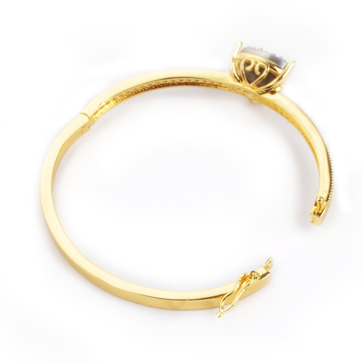 ZENGORI 12mm Triangle Gold Plated Brass Natural Agate Druzy Bangle Bracelet Pave with Zircon
