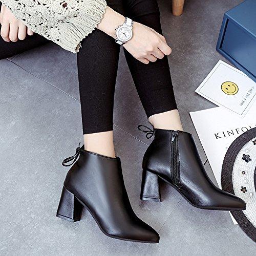 Zapatos con grueso otoño invierno arranque cómodo y Martin puntiagudas de de black botas e y rIF4xrTwq