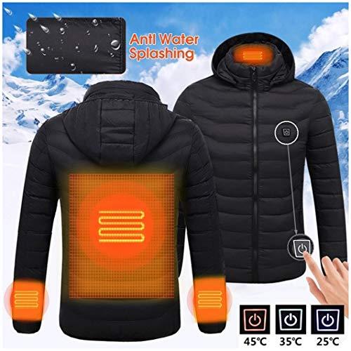 Dimandar Unisex Intelligent Heating Cotton Coat Winter Warm Hooded Back Abdomen Heating Thick Jacket Outerwear for Men Women Black