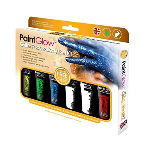Paint Glow Glitter Face And Body Gel Kit Make Up Sparkle Festival (Makeup Tube Pro Blue)