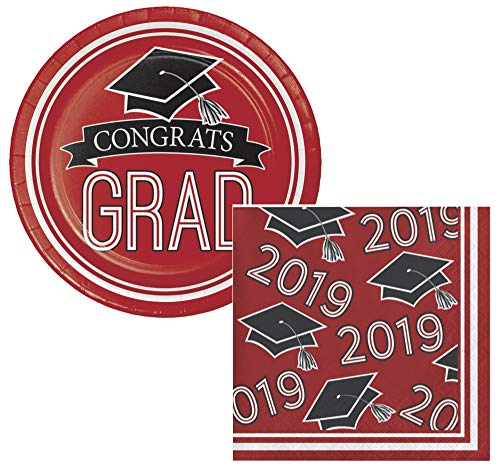 School Colors Graduation Dessert Plates & Napkins Party Kit for 18 (Red, Class of 2019)