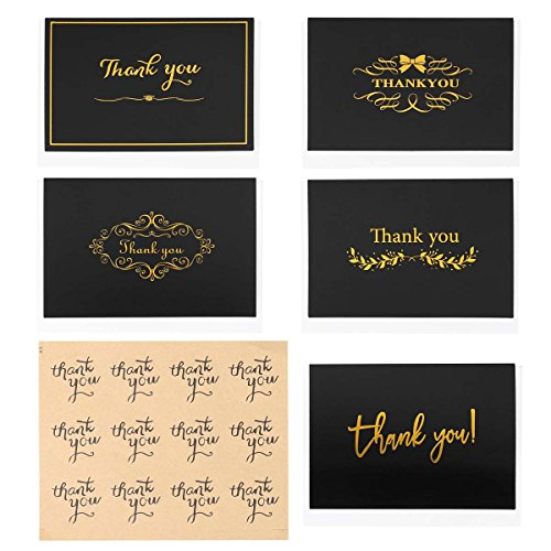 10 PCS Simple Thank You Greeting Cards Blank Notes Cards with Envelopes and Sealing Stickers for Invitation Wedding Graduation Business Hot Stamped Designs