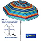 AMMSUN 7ft Beach Umbrella Adjustable Height with Sand Anchor Air Vent Zinc Tilt Silver Coating Inside Telescoping Pole Multicolor Green