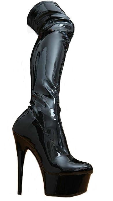 Erogance Lack High Heels Stiefel Overkneestiefel