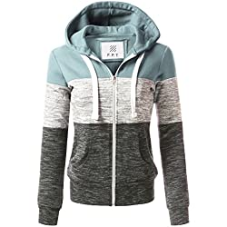 Fifth Parallel Threads FPT Women's Color Block Zip up Hoodie Dustyblue M