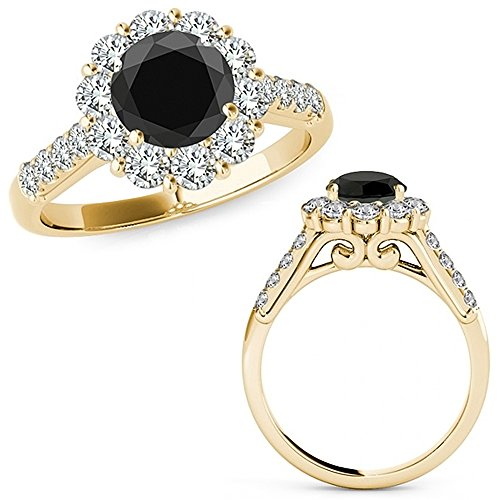 3.4 Carat Black Diamond Designer Flower Halo Anniversary Engagement Wedding Band Ring 14K Yellow Gold (3.4 Ct Round Diamond)