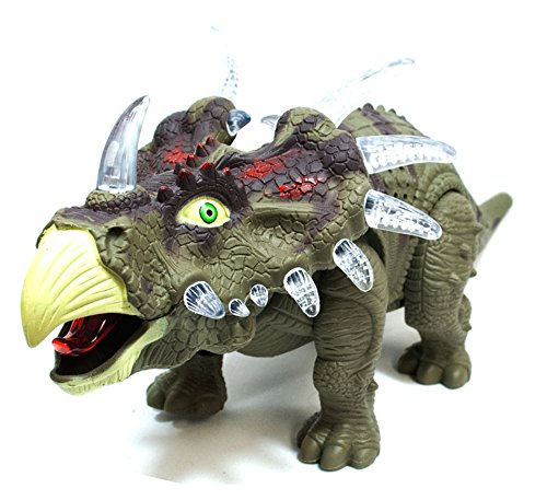 Lilpals Live Action Green Triceratops Walking Dinosaur   Battery Powered  With Dinosaur Sounds And Color Changing Lights  Triceratops  Green