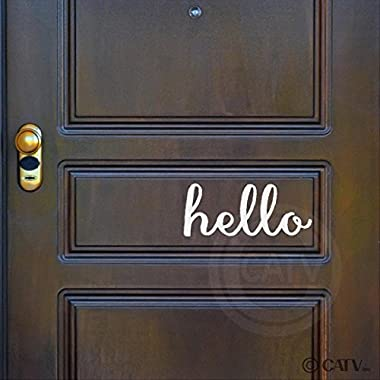 Hello (M) wall saying vinyl lettering home decor decal stickers quote art (White)