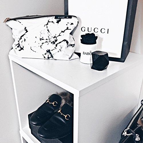 Amazon.com   Luxe B Marble Big Makeup Bag Gold Zipper Travel Size Large  Cosmetic Cute Makeup Case Train Bags Pouch Kit Brush Organizer Toiletry  Travel ... cc4a01d37d960