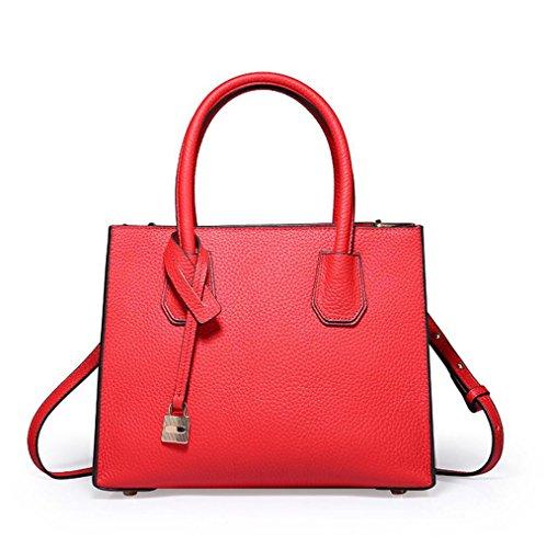 La Sra. Bolso simple bolso de cuero bolso diagonal de color sólido Red
