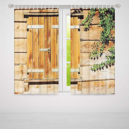 ALUONI Decor Collection,Shutters,for Bedroom Living Dining Room Kids Youth Room,Facade of an Old Building Wooden Shutters Traditional House Summer Plants Nature2 Panel Set,103W X 94L Inches