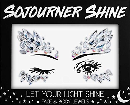 Face Jewels Glitter Gems Rhinestones – Eye Body Jewels Gems | Rhinestone Stickers | Body Glitter Festival Rave & Party Accessories by SoJourner (Midnight Goddess)
