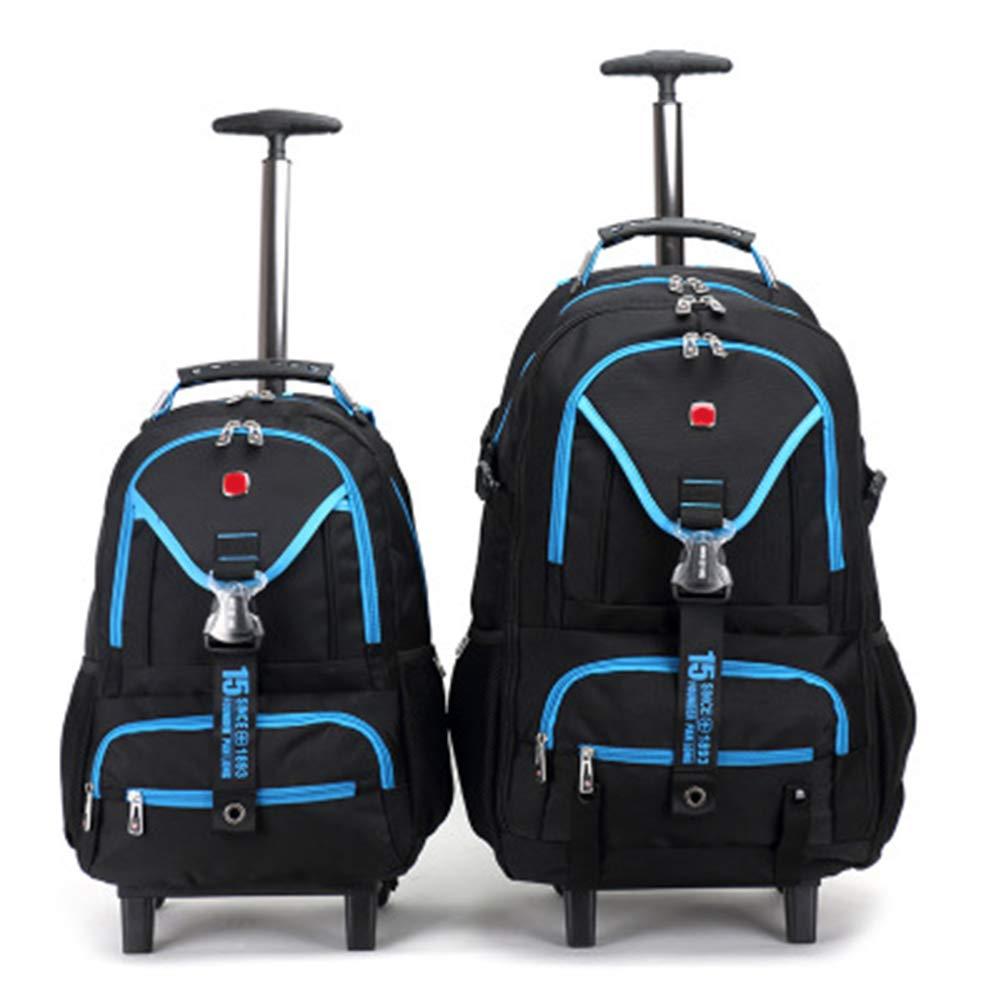 多機能防水リュックサック、ラップトップコンパートメント付きビジネストロリーケース、キャビンの手荷物スーツケース、2輪付き超軽量トラベルキャリー 26in Blue B07KFTVMHQ