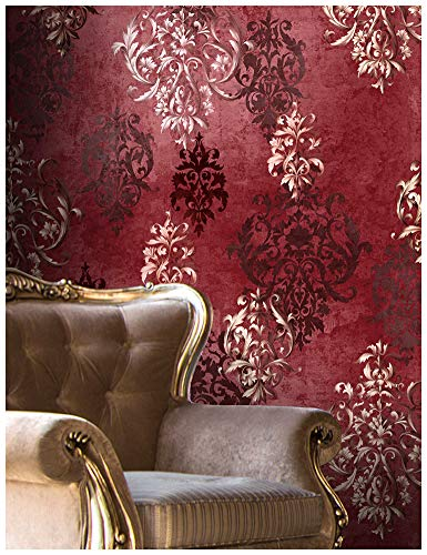 "HaokHome 66111 Vintage Red Damask Wallpaper Rolls Crimson Red/Ivory/Brown Retro Textured Wall Decoration 20.8"" x 32.8ft"