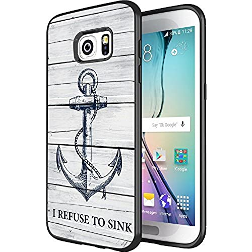 DOO UC(TM) Galaxy S7 Edge Case, Laser Technology for Protective Case for Samsung Galaxy S7 Edge Black Wood grain navy anchor I REFUSE TO SINK Sales