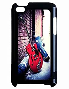 Custom Comfortable TPU Case Design With Vintage Red Guitar Erected At Walls for Ipod Touch 4th Hard Shell