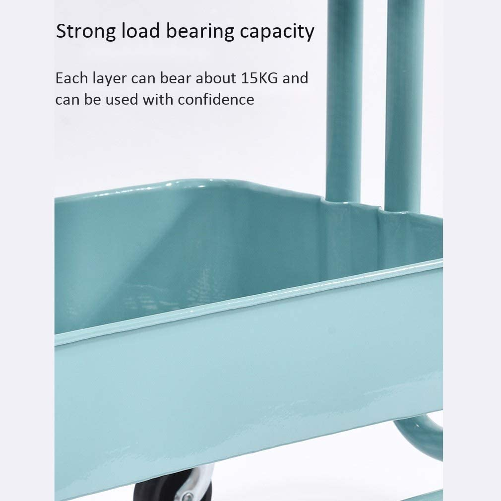 Color : Blue, Size : L Large Zhao Li Storage Shelves Multi-Layer Kitchen Storage Trolleys Wheels Removable Nordic Minimalist Living Room Bedroom Storage Shelves