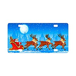 Fashions Merry Christmas Trees and Reindeers Team Durable License Plate Frame Metal Personalized Car Tag 12 X 6 inches (4 Holes)