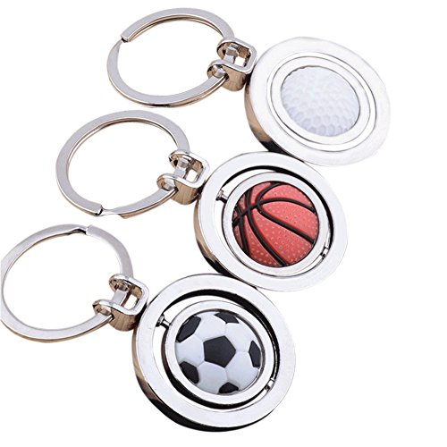 Katie Sports Rotatable Football Keychain Metal Key Ring Cover Holder For Men Gifts (3 Pcs) Metal Foot Ring