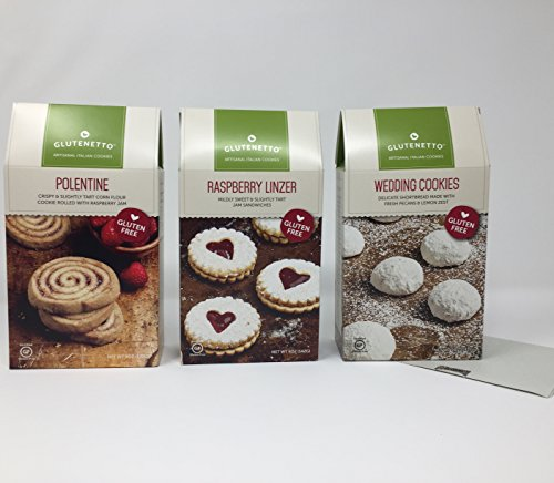 Gluten Free Cookies Glutenetto Gourmet Variety of 3: Raspberry Linzer, Polentine, And Shortbread Wedding Cookies Plus a Bonus Free GF Nut Free Candy Recipe from Z-Organics. A Healthy Bundle (3 Items+)
