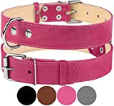 "CollarDirect Genuine Leather Dog Collar, Handmade Collar for Dog, Soft Puppy Collar Small Medium Large Pink Gray Black Brown (Neck Fit 11""-13"", Pink)"