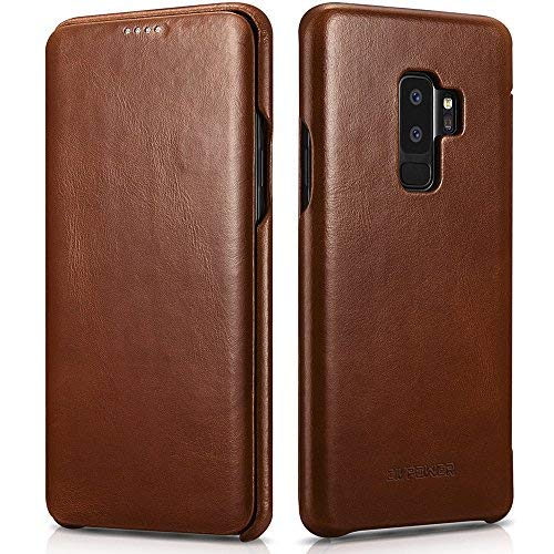 online store d95c8 69c87 Samsung Galaxy S9 Plus Leather Case - Best Curved Edge Design Real Cowhide  Leather - Side Open Flip Case with Hidden Magnetic Snap - Effective Full ...
