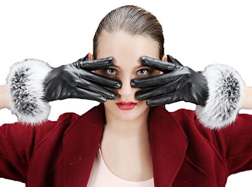 Fur Cuff Gloves - Women's Winter Faux Leather Touchscreen Texting Gloves Fur Trim Cuff