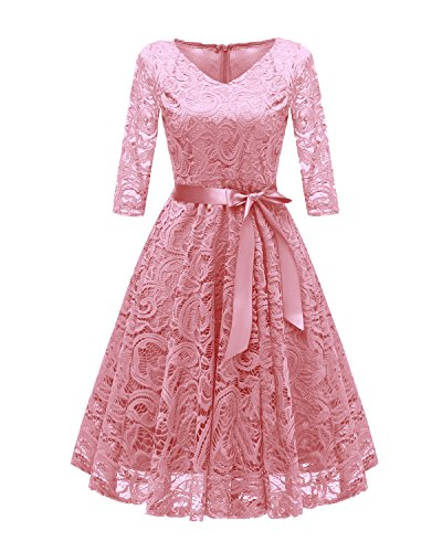 Chowsir Women Fashion V-Neck 3/4 Sleeve Formal Lace Evening Midi Dress (Large, Pink)