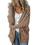 Imily Bela Womens Fuzzy Chunky Cardigan Popcorn Oversized Sherpa Slouchy Open Sweater Coat Khaki