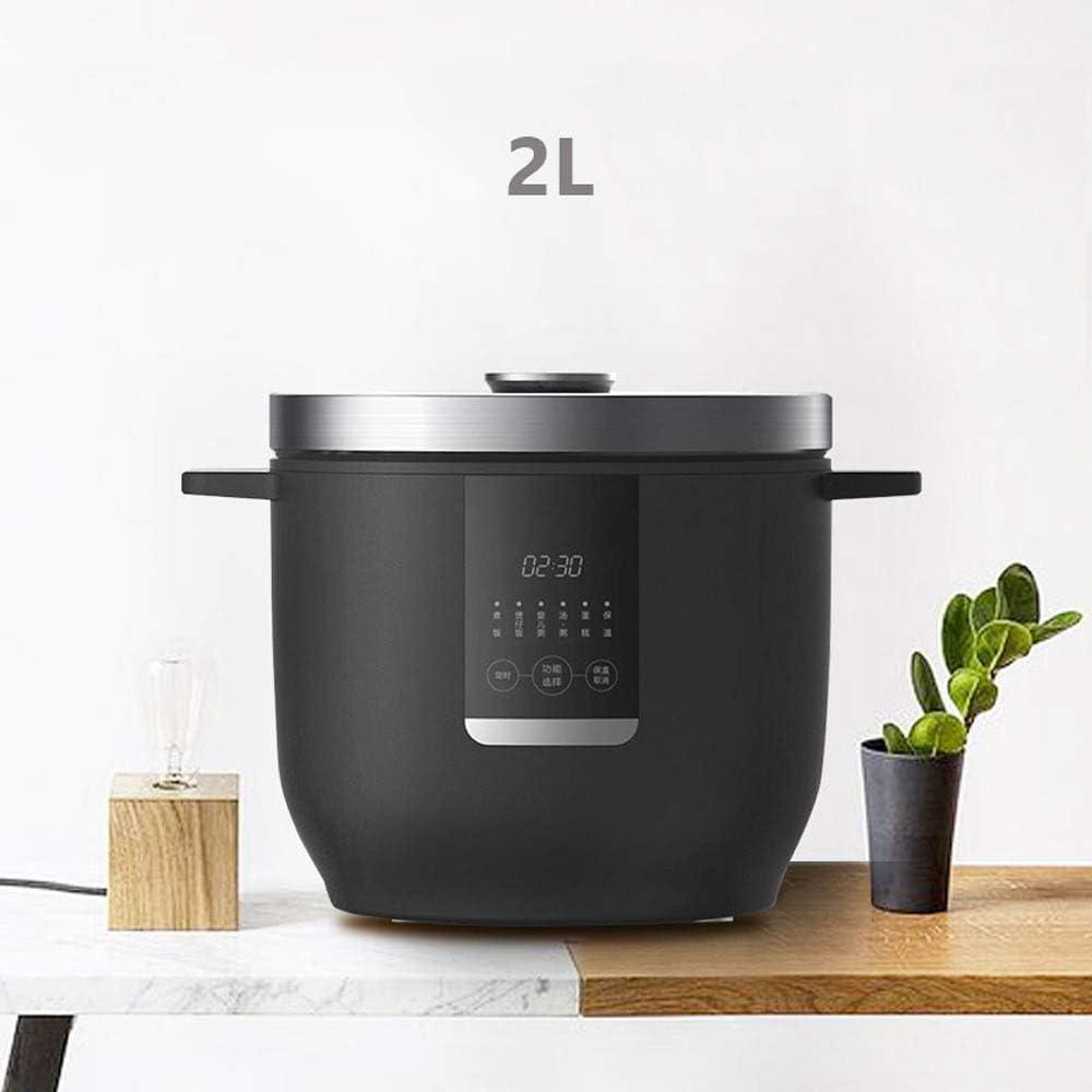 SUQIAOQIAO Mini Multi-Fonction Rice Cooker 2L Portable Intelligent en Acier Inoxydable Rice Cooker 1-2 Personnes 220 V,Noir