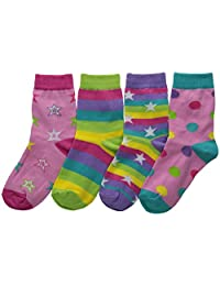 K. Bell Socks Girl's Girls Mix It Up Dots and Stars Crew 2 Pack