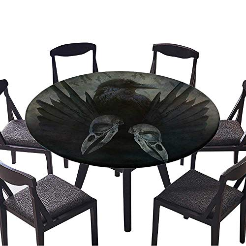 (Modern Simple Round Tablecloth Crow Spirit Design with Head,Skulls,Black Wings and Bird Flock in Flight Emerging for Kitchen 43.5