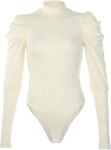 ZEZKT Body de Sexy Delgado Mameluco Casual Top de Elegante Corte Ajustado Bodysuit Leotardo Moda Mujer Jersey de Cuello Alto Camisa Blusa: Amazon.es: Ropa y accesorios