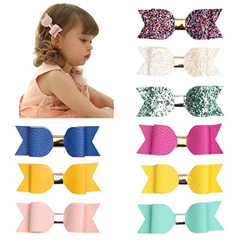(Glitter Hair Bows 4 Inch Leather Bows Hair Clips Toddler Girls Boutique Hair Bows Clips For Baby Girls Teens Toddlers)