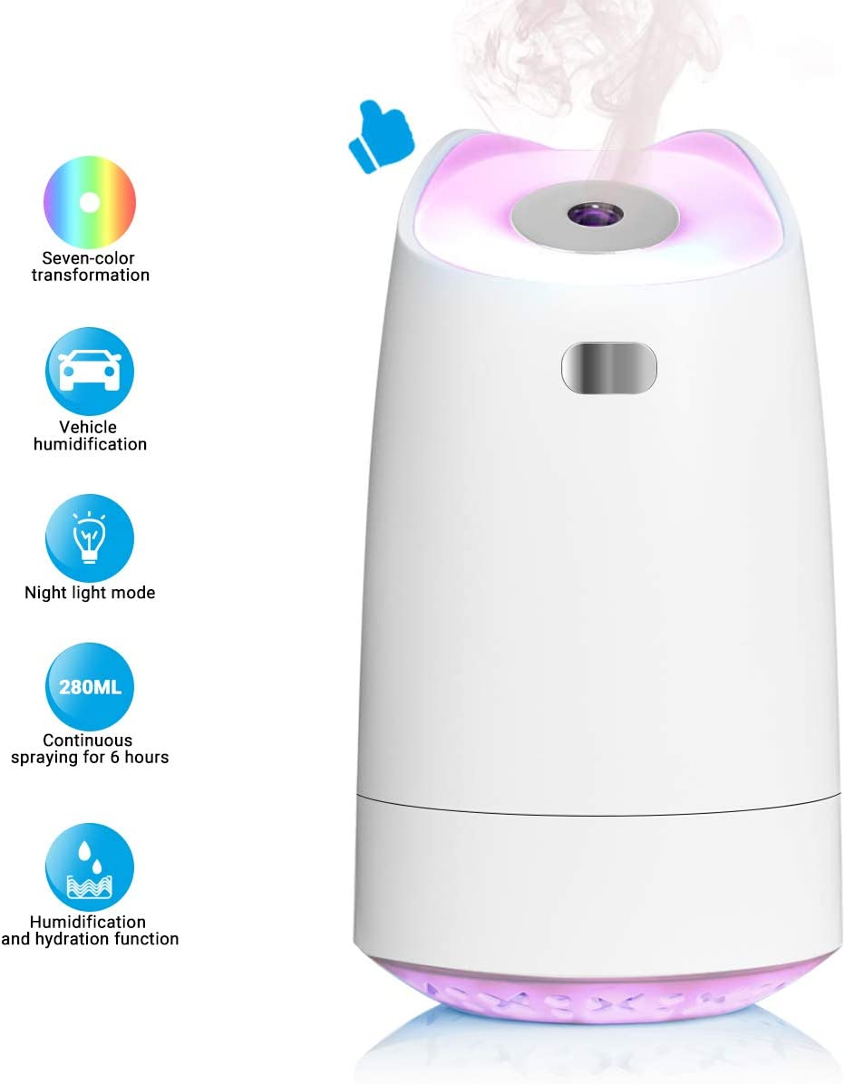 LoiStu USB Humidifier, 280ml Mini Portable Humidifier with 7-Color LED Night Light, Auto-Off, Ultra-Quiet, Suitable for Home, Office, Baby Room, Car White