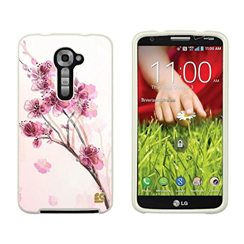 Slim Light Weight 2 Piece Snap On Non-Slip Matte Hard Design Rubber Coated Rubberized Case with Premium Protection for LG G2 VS980 (Verizon Version Only) - Pink Cherry Blossom - White (Lg G2 Rubber Phone Case Verizon)