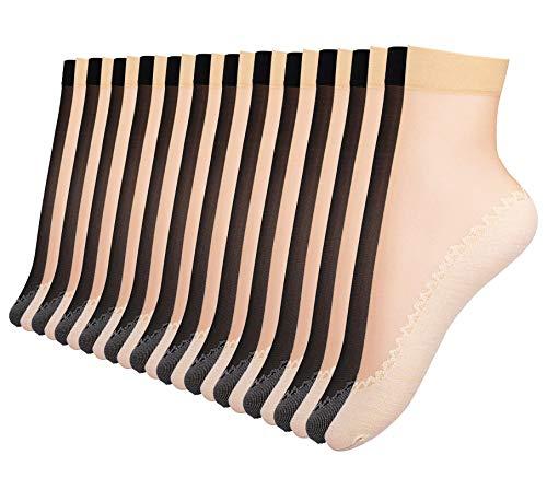 Fitu Women's 24 Pairs Nylon Tigh...