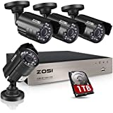ZOSI 8CH Security Camera System HD-TVI Full 1080P Video DVR Recorder with 4X HD 1920TVL 1080P Indoor Outdoor Weatherproof CCTV Cameras 1TB Hard Drive,Motion Alert, Smartphone, PC Easy Remote Access