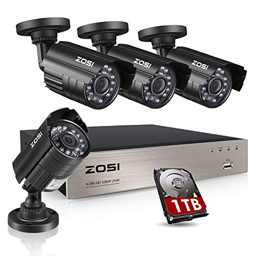 ZOSI 8CH Security Camera System HD-TVI Full 1080P Video DVR Recorder with 4X HD 1920TVL 1080P Indoor...