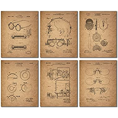 Optometrist Patent Wall Art Prints - Set of Six Eye Doctor Vintage Photos