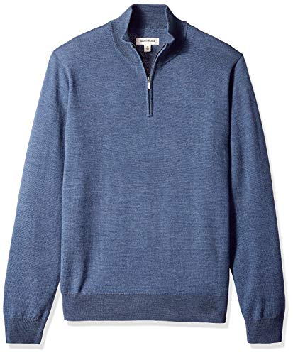 Goodthreads Men's Merino Wool Quarter Zip Sweater, Denim, ()