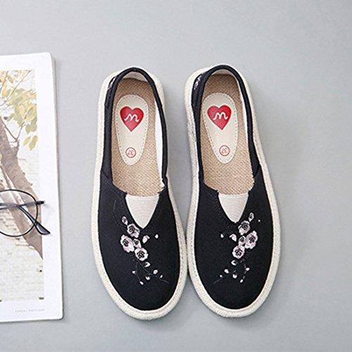 O & N Dame Lerret Slip On Sko Sneaker Flat Svart