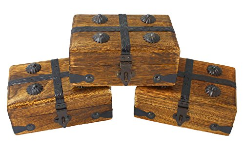 3 Pack Mini Wooden Pirate Treasure Chests 4